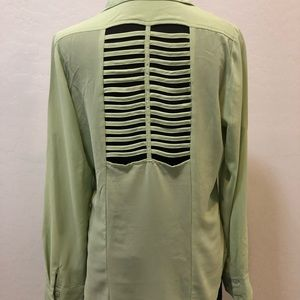 Ya Los Angeles mint green button down blouse